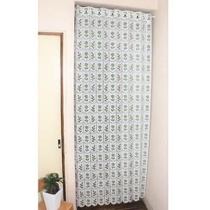 幅95×丈190cm 小花柄 パタパタ 間仕切りカーテン 日本製 グリーン - 拡大画像