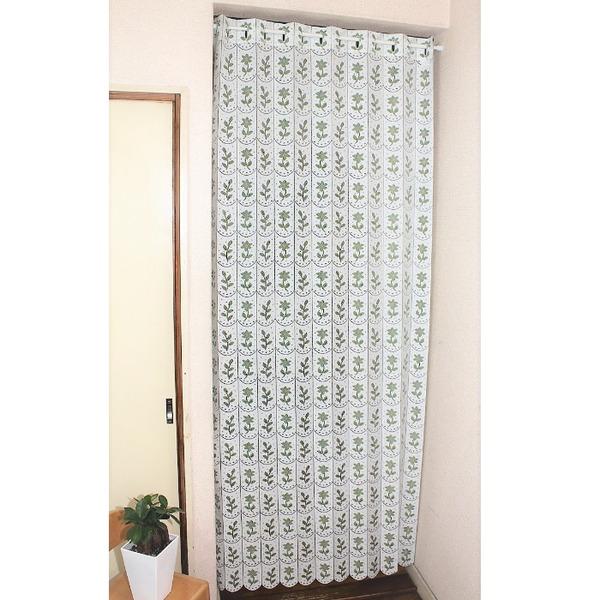 幅95×丈190cm 小花柄 パタパタ 間仕切りカーテン 日本製 グリーン
