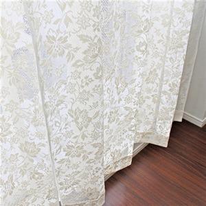 幅100cm×丈108cm【2枚】 綿混花柄レースカーテン 出窓/腰高窓 日本製