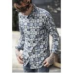 OVERDESIGN パッチワークシャツ STAR BLUE Mサイズ