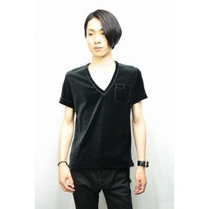 QL Mansion Maker ベロアVネックTシャツ BLACK サイズ46 - 拡大画像
