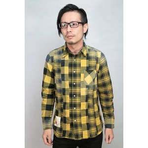 SEVESKIG STRECH PANEL CHECK SHIRT YELLOW Mサイズ