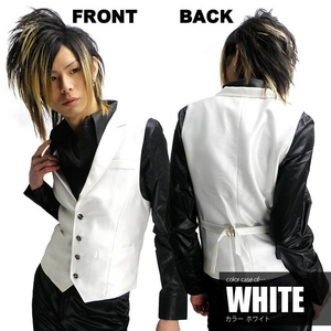Luxury Black(ラグジュアリーブラック) ノッチ衿シャイニードレスジレ WHT(ホワイト) Mサイズ - 拡大画像