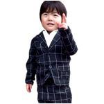 子供 スーツ 男の子 キッズスーツ 3点セット (ウィンドペンスーツBLK(XL)130) 子供服