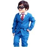 子供 スーツ 男の子 キッズスーツ 3点セット (ブルーチェックスーツ(S) 100) 子供服