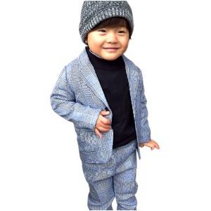 子供 スーツ 男の子 キッズスーツ 3点セット (グレンチェックスーツ(L) 120) 子供服  - 拡大画像