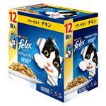 (まとめ)フィリックス やわらかグリル 成猫用 ゼリー仕立て チキン 12袋入り【×5セット】【ペット用品・猫用フード】