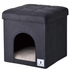 Porta ドッグハウス&スツール ブラック レギュラー【ペット用品・犬用】 - 拡大画像