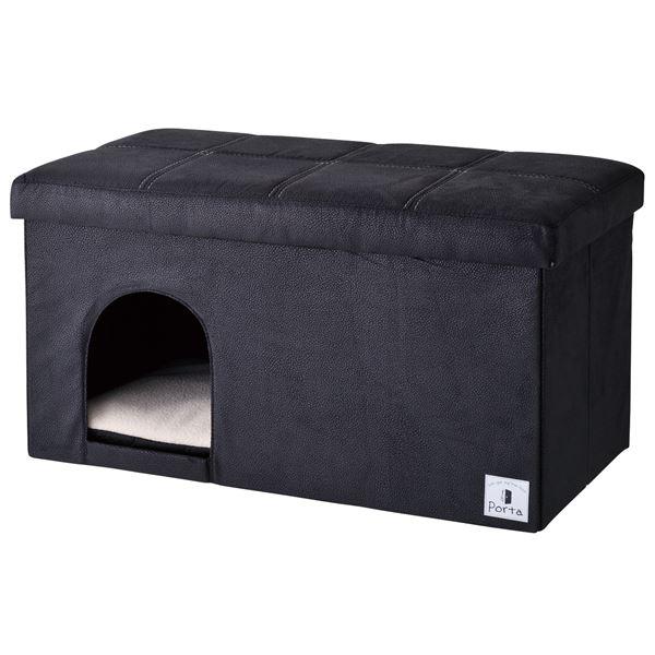 Porta ドッグハウス&スツール ブラック ワイド【ペット用品・犬用】