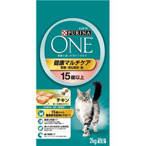 (まとめ)ピュリナワン キャット 健康マルチケア 15歳以上 チキン 2Kg【×6セット】【猫用フード/ペット用品】 - 拡大画像
