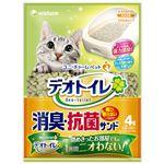 (まとめ)デオトイレ 飛び散らない消臭・抗菌サンド 4L (ペット用品)【×4セット】