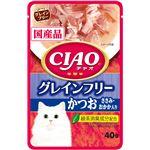 (まとめ)CIAOパウチ グレインフリー かつお ささみ・おかか入り 40g (ペット用品・猫フード)【×96セット】