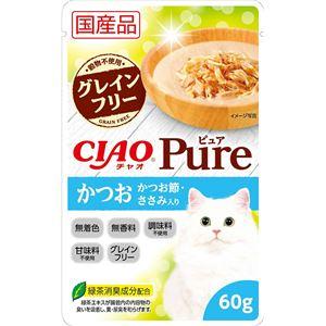 (まとめ)CIAO Pureパウチ かつお かつお節・ささみ入り 60g (ペット用品・猫フード)