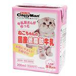 (まとめ)キャティーマンねこちゃんの国産低脂肪牛乳 200ml【×24セット】