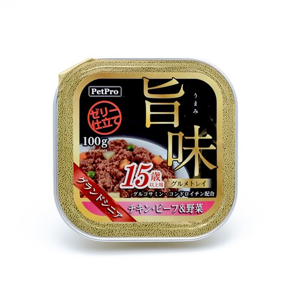 (まとめ)ペットプロ 旨味グルメトレイ 15歳以上用 チキン・ビーフ&野菜 100g【×24セット】