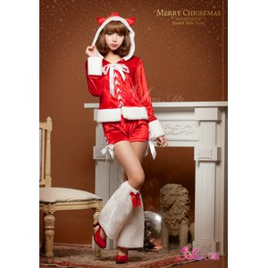 【クリスマスコスプレ】クリスマス☆サンタクロースコスプレセット/コスプレ/コスチューム/衣装/s023 レッド - 拡大画像