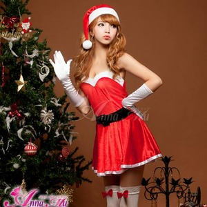 【クリスマスコスプレ】ミニスカサンタワンピコスチューム6点セット/コスプレ/コスチューム/衣装/c335 レッド - 拡大画像