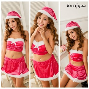 大きいサイズ☆ピンクのベアトップでキュートなチアサンタ♪ベロア素材サンタコスプレ☆ KS88299L-3L - 拡大画像