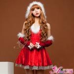 クリスマス☆サンタクロースコスプレセット/コスプレ/コスチューム/クリスマス衣装/サンタクロース衣装/s025 レッド