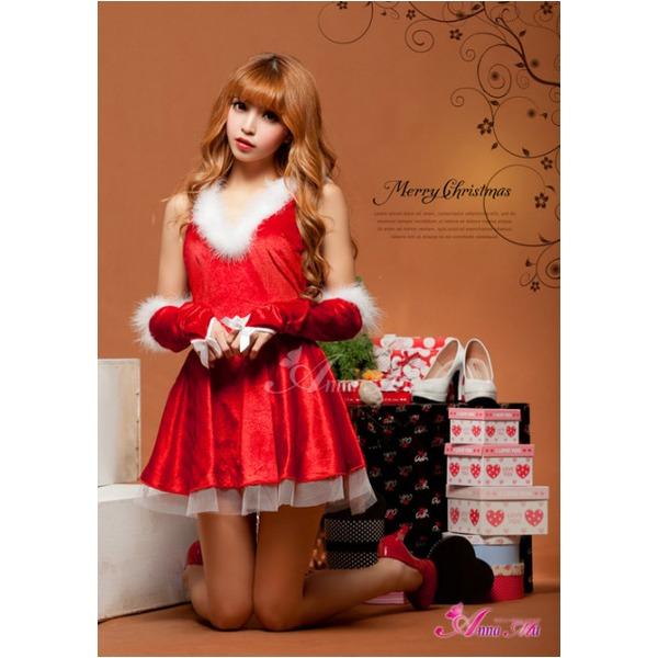 クリスマス☆サンタクロースコスプレセット/コスプレ/コスチューム/衣装/s025 レッド