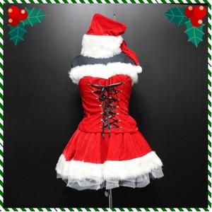 前後スピンドル2ピース ミニサンタ4点SET/クリスマス/サンタ/コスチューム/コスプレ/イベント/パーティ - 拡大画像