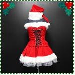 前後スピンドル2ピース ミニサンタ4点SET/クリスマス/サンタ/コスチューム/コスプレ/イベント/パーティ