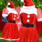0905 Red お姫サンタコスチューム3点セット【クリスマス/クリスマス衣装/サンタクロース衣装/クリスマスコスプレ/コスプレ/イベント/パーティ/仮装】
