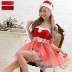 1011 Red オーガンジーレース2点セット/サンタコスチューム【クリスマス/クリスマス衣装/サンタクロース衣装/クリスマスコスプレ/コスプレ/イベント/パーティ/仮装】