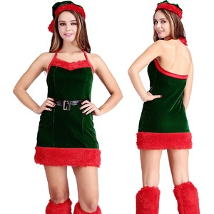 7102ツリーサンタ3点セット【クリスマス/クリスマス衣装/サンタクロース衣装/クリスマスコスプレ/コスプレ/イベント/パーティ/仮装】 - 拡大画像