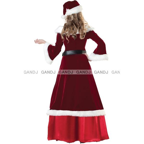 豪華なロングサンタドレス/ロングクリスマスドレス 9454