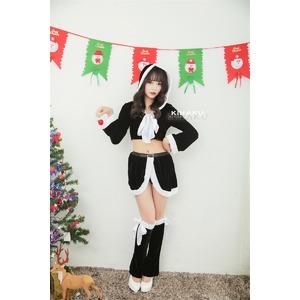 9206ブラック【白リボン3色サンタ衣装/サンタ/クリスマス/イベント/パーティ/コスプレ/コスチューム/仮装/衣装】 - 拡大画像