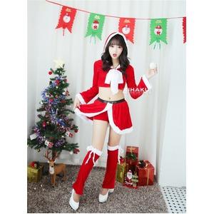 9206レッド【白リボン3色サンタ衣装/サンタ/クリスマス/イベント/パーティ/コスプレ/コスチューム/仮装/衣装】 - 拡大画像
