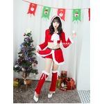 9206レッド【白リボン3色サンタ衣装/サンタ/クリスマス/イベント/パーティ/コスプレ/コスチューム/仮装/衣装】