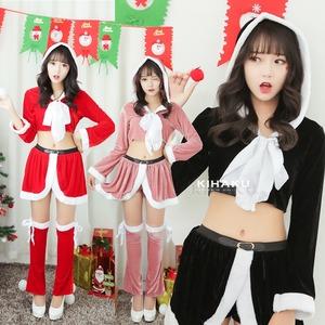 9206ピンク【白リボン3色サンタ衣装/サンタ/クリスマス/イベント/パーティ/コスプレ/コスチューム/仮装/衣装】 - 拡大画像