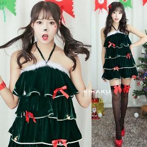 9203【緑 ツリー サンタ衣装/クリスマスツリー/サンタ/クリスマス/イベント/パーティ/コスプレ/コスチューム/仮装/衣装】 - 拡大画像