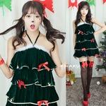 9203【緑 ツリー サンタ衣装/クリスマスツリー/サンタ/クリスマス/イベント/パーティ/コスプレ/コスチューム/仮装/衣装】