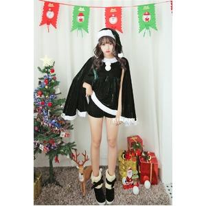 9202グリーン【3色 パーカー サンタコスチューム/サンタ/クリスマス/イベント/パーティ/コスプレ/コスチューム/仮装/衣装】 - 拡大画像