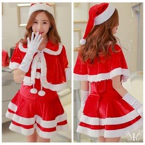 【804030】赤帽子ラブリーサンタさんでハッピーX'mas♪ファーボレロをまとって【サンタクロース衣装/クリスマス/コスプレ/コスチューム/イベント/パーティ/仮装/衣装】 - 拡大画像