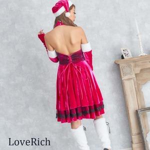 1093-Red/レースサンタ4点セット/サンタコスチューム【クリスマス/クリスマス衣装/サンタクロース衣装/クリスマスコスプレ/コスプレ/イベント/パーティ/仮装】