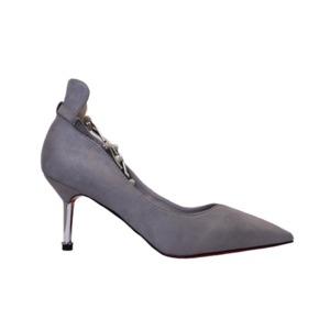 【フーレエル】(K6102)アンクレット風パンプス!足が綺麗に見えるカットデザイン! 22.5cm グレー - 拡大画像