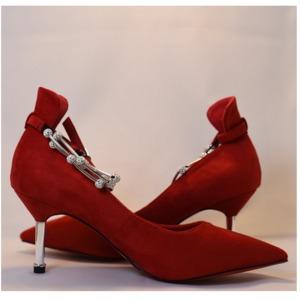 【フーレエル】(K6102)アンクレット風パンプス!足が綺麗に見えるカットデザイン! 22.0cm 紅