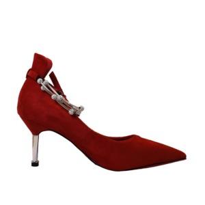 【フーレエル】(K6102)アンクレット風パンプス!足が綺麗に見えるカットデザイン! 22.5cm 紅