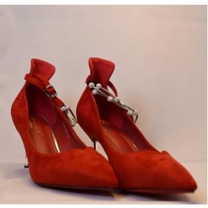 【フーレエル】(K6102)アンクレット風パンプス!足が綺麗に見えるカットデザイン! 24.5cm 紅