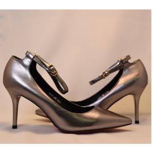 【フーレエル】(K6077)シンプルヒール!安定感と履きやすさ◎!ビジネスにも!22.0cm グレー