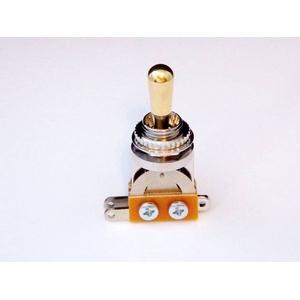GP Factory(GPファクトリー) トグルスイッチ縦型 クローム ゴールドボタン (エレキギターパーツ) - 拡大画像