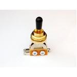 GP Factory(GPファクトリー) トグルスイッチ縦型 ゴールド ブラックボタン (エレキギターパーツ)