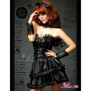 ふんわりスカートのゴスロリ調ブラックドレス/コスプレ コスチューム z671 - 拡大画像