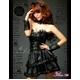 ふんわりスカートのゴスロリ調ブラックドレス/コスプレ コスチューム z671 - 縮小画像1