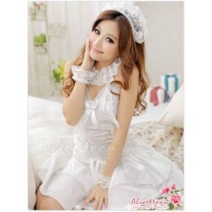 コスプレ 純白ウエディングドレス セット f408 - 拡大画像