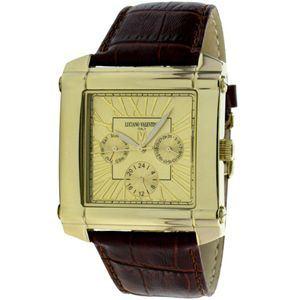 LNCIANO VALENTINO(ルチアノ バレンチノ) マルチファンクション 腕時計 LV-1025-03/ ゴールドケース・ゴールド、茶ベルト - 拡大画像